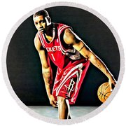 Tracy Mcgrady Portrait Round Beach Towel