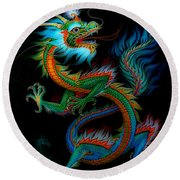 Tradition Asian Dragon Illustration 1 Round Beach Towel