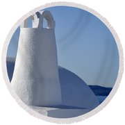 Traditional Chimney In Oia Town Round Beach Towel