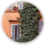 Traditional House Rome Italy Round Beach Towel