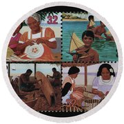 Traditional Pacific Handicrafts Postage Stamp Print Round Beach Towel