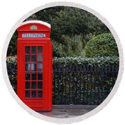 Traditional Red Telephone Box In London Round Beach Towel