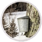 Traditional Sap Bucket On Maple Tree In Vermont Round Beach Towel