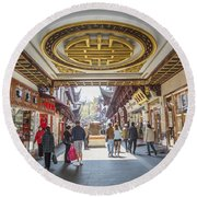 Traditional Shopping Area In Shanghai China Round Beach Towel