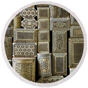 Traditional Souvenir Boxes In Market Of Cairo Egypt  Round Beach Towel