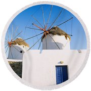 Traditional Windmill In A Village Round Beach Towel