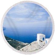 Traditional Windmill On Karpathos Island - Greece Round Beach Towel
