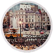 Trafalgar Square London Round Beach Towel by Diana Angstadt