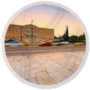 traffic at Syntagma Round Beach Towel
