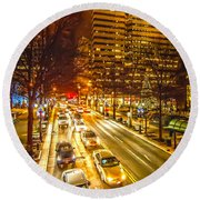 Traffic In A Big City Round Beach Towel
