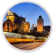 Traffic On The Solidarity Avenue In Warsaw Round Beach Towel