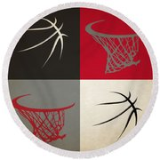 Trail Blazers Ball And Hoop Round Beach Towel