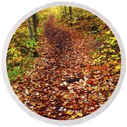 Trail In Fall Forest Round Beach Towel