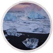 Trail Of Diamonds Round Beach Towel