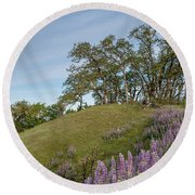 Trail Of Lupine Round Beach Towel