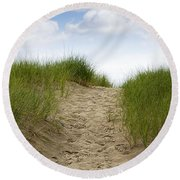 Trail Over The Dune To The Summer Beach Round Beach Towel