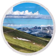 Trail Ridge Road In Rocky Mountain National Park Round Beach Towel