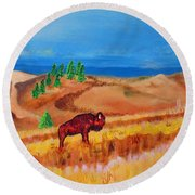 Monarch Of The Plains Round Beach Towel