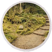 Trail Through The Moss Round Beach Towel