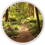 Trail Through The Rainforest Round Beach Towel by Carol Groenen