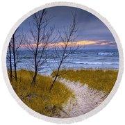 Trail To The Beach Round Beach Towel