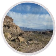 Trail To The Mountains Round Beach Towel