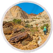 Trail Up To The Tanks From Capitol Gorge Pioneer Trail In Capitol Reef National Park-utah Round Beach Towel
