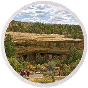 Trail View Of Spruce Tree House On Chapin Mesa In Mesa Verde National Park-colorado Round Beach Towel