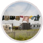 Trailers In North Rustico Round Beach Towel by Elena Elisseeva
