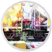 Train Abstract Blend 1 Round Beach Towel