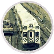 Train Approaching Round Beach Towel