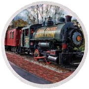 Train At Olmsted Falls - 1 Round Beach Towel