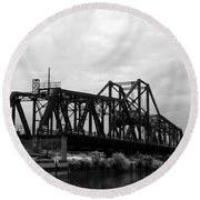Train Bridge Round Beach Towel