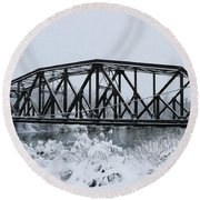 Train Bridge Over The Genesee River Round Beach Towel