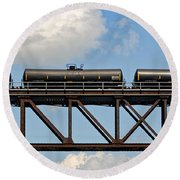 Train Cars On The Bridge Round Beach Towel