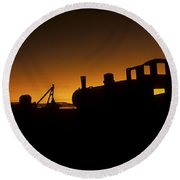 Uyuni Train Cemetery Sunset Bolivia Round Beach Towel