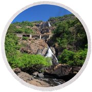 Train Crossing Dudhsagar Falls Round Beach Towel