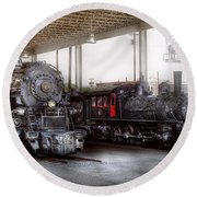 Train - Engine - 1218 - End Of The Line  Round Beach Towel