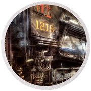 Train - Engine - 1218 - Norfolk Western - Class A - 1218 Round Beach Towel by Mike Savad