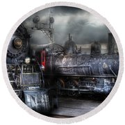 Train - Engine - 1218 - Waiting For Departure Round Beach Towel