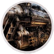 Train - Engine -  Now Boarding Round Beach Towel by Mike Savad