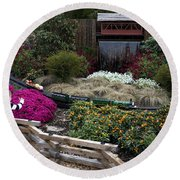 Train Garden And Girl Round Beach Towel
