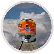Train In Clouds Round Beach Towel