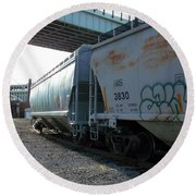 Train In The City Round Beach Towel