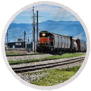 Train In The Mile High Round Beach Towel