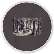 Train In The Redwoods Round Beach Towel