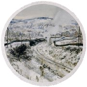 Train In The Snow At Argenteuil Round Beach Towel by Claude Monet
