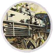Train Is Coming Two Round Beach Towel