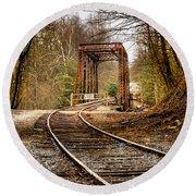 Train Memories Round Beach Towel by Debra and Dave Vanderlaan