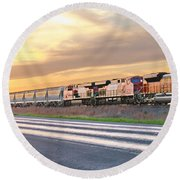 Train On The Tracks Round Beach Towel